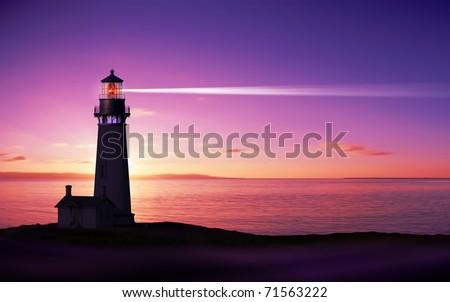 Lighthouse searchlight beam through marine air at night Royalty-Free Stock Photo #71563222