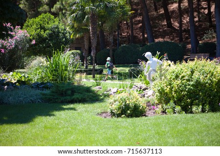 Beautiful park in the south, where palm trees and olive trees grow. #715637113