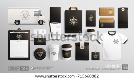 Coffee, Cafe, Food delivery truck - corporate identity branding Mockup. Realistic MockUp set of food truck, uniform, envelope, cup, paper pack, menu. Coffee, Fast food package Royalty-Free Stock Photo #715660882
