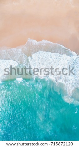 Sea Aerial view, Top view,amazing nature background.The color of the water and beautifully bright.Azure beach with rocky mountains and clear water of Thailand ocean at sunny day.flying drone,sea view #715672120