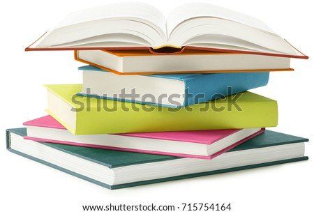 stack of books isolated on white background #715754164