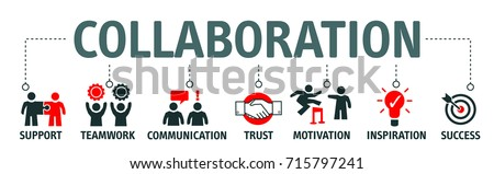 Banner collaboration and teamwork with icons Royalty-Free Stock Photo #715797241