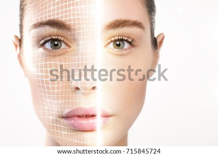 Futuristic and technological scanning of the face of a beautiful woman for facial recognition and scanned person. It can serve to ensure personal safety. Concept of:  future, security, scanning. #715845724