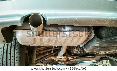 Exhaust of the car with catalyst #715861756