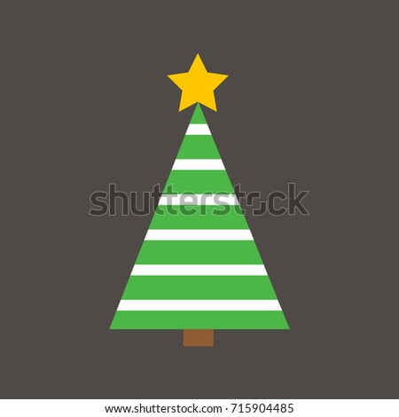 Flat Design Christmas Tree with straight lines striped with the dark grey background for Christmas Festive. #715904485