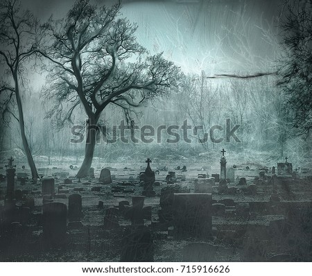 GRAVEYARD WITH TREES IN A BLUE PAINTING  Royalty-Free Stock Photo #715916626