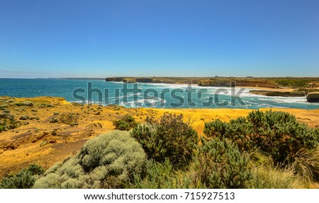 All shades of blue of the Pacific ocean. The Australian coast. #715927513