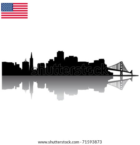 Detailed vector San Francisco silhouette skyline with USA flag