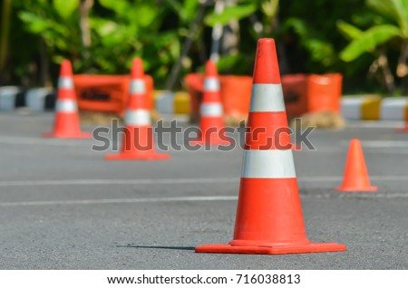 Traffic cones in driving school #716038813