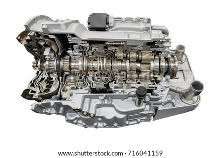 Automatic transmission with retarder in section. Isolated on white background. #716041159
