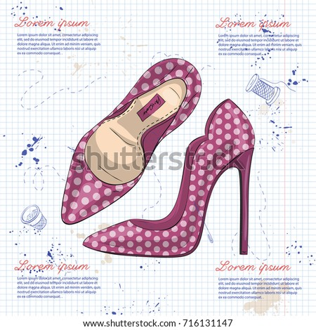 Fashion vector sketch womens shoes. #716131147