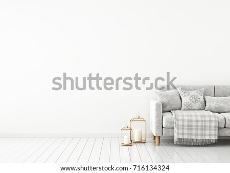 Interior wall mock up with velvet sofa, pillows, plaid and lanterns on empty white background. 3D rendering.  #716134324