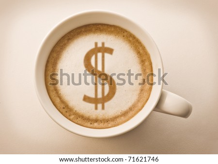 dollar sign drawing on latte art coffee cup #71621746