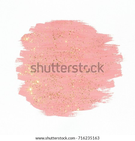 Pink paint with gold glitter on white background. Abstract gouache brush  strokes texture. Royalty-Free Stock Photo #716235163