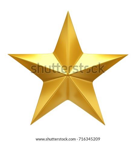 Golden Star  - 3d render #716345209