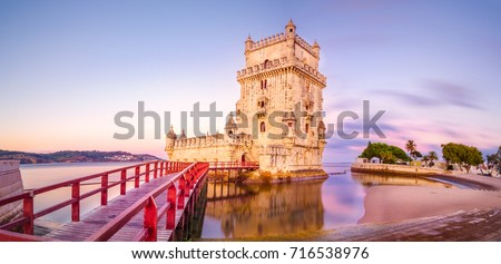 The Belem Tower (Torre de Belem), Lisbon, Portugal. At the margins of the Tejo river, it is an iconic site of the city. Originally built as a defence tower, today it is used as a museun. #716538976