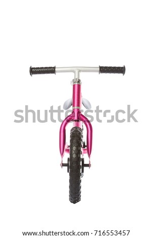 Kids balance Bike on white background. front view #716553457