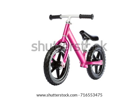 Kids balance Bike on white background. front view #716553475