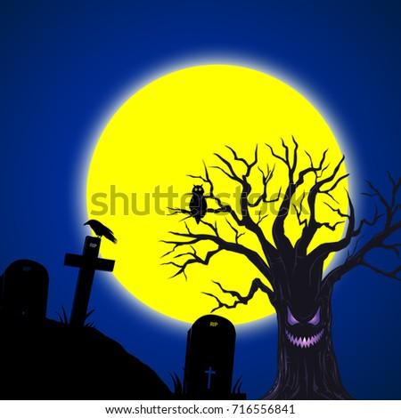Halloween blue night ,Halloween concept #716556841