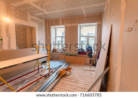 Material for repairs in an apartment is under construction, remodeling, rebuilding and renovation. Making walls from gypsum plasterboard or drywall. #716603785