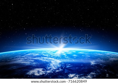 earth space globe planet world global horizon night photo blue view cloud moon design outer sunset sea concept - stock image. Elements of this image furnished by NASA #716620849