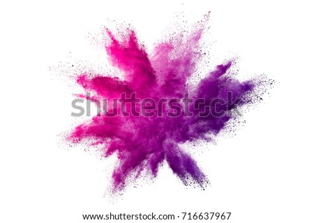 Explosion of colored powder on white background Royalty-Free Stock Photo #716637967