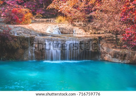 Waterfall pool landscape,Waterfall in autumn forest. #716759776