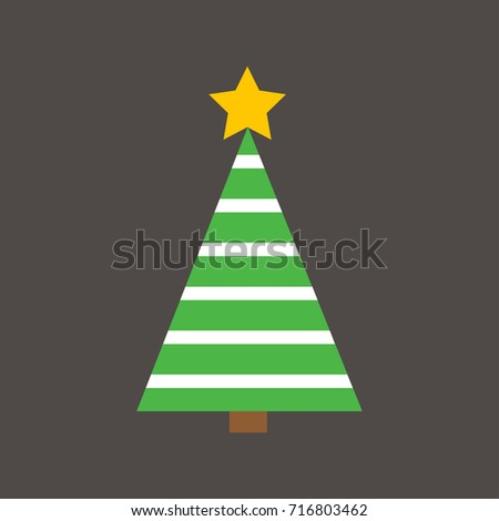 Flat Design Christmas Tree with straight lines striped on the dark grey background for Christmas Festive. #716803462