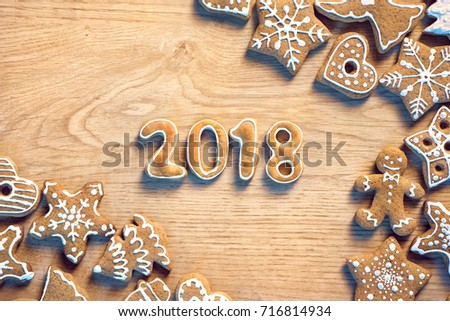 Traditional Christmas cookies on wooden table. Christmas baking concept. Top view. High resolution product #716814934