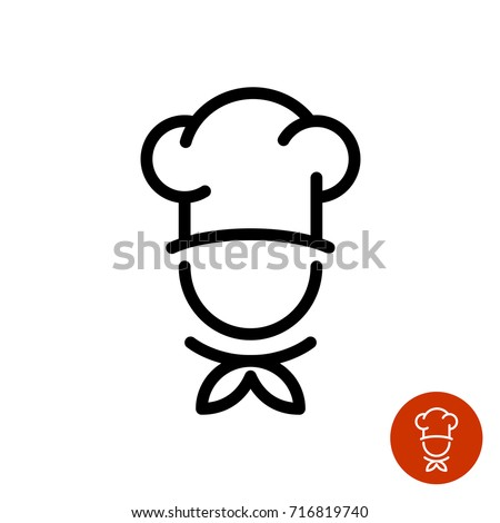 Chef in a cooking hat vector outline logo. Kitchen simple black icon. Royalty-Free Stock Photo #716819740