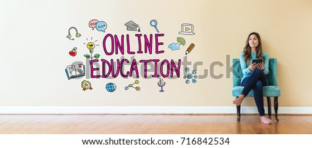 Online Education text with young woman holding a tablet computer in a chair #716842534