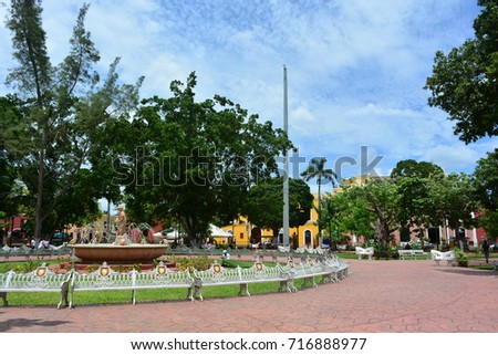 VALLADOLID, MEXICO - AUG 29TH, 2017:Main square of the colonial town of Valladolid, and touristic destination in Mexico, on Aug 29th, 2017 #716888977