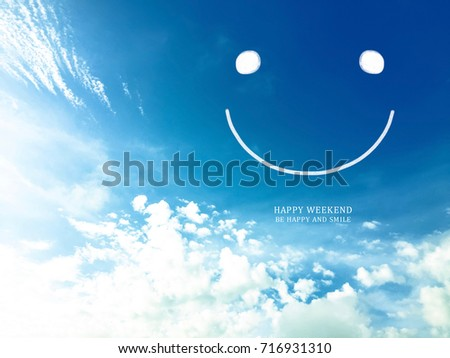 Smile face on beautiful blue sky and cloud