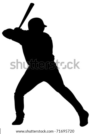 An isolated man playing baseball.