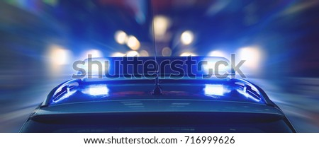 Police are driving at high speed