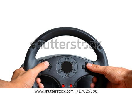 Hands holding gaming steering wheel on white background. #717025588