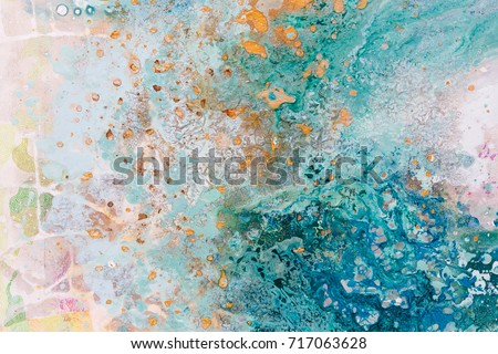 Close up of abstract art with water and postal colors. All hand painted and original works. High resolution photo.