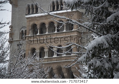 Fussen, Germany - December 26 2014: view of the fragment of Neuschwanstein Castle in winter time on December 26 2014 near Fussen Germany. #717073417