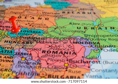 map of hungary with pushpin Royalty-Free Stock Photo #717097114