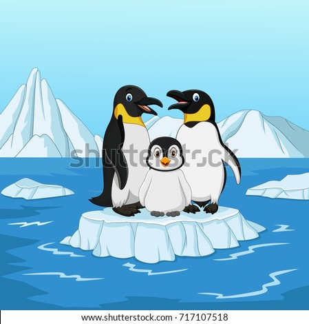 Cartoon happy penguin family standing on ice floe