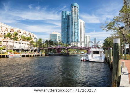 Fort Lauderdale skyline view along New River #717263239