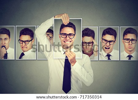 Masked man in glasses expressing different emotions  #717350314