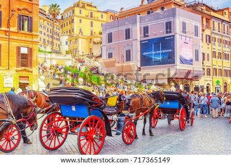 ROME, ITALY - MAY 10, 2017 :  Spanish Steps Square(Piazza della Trinita dei Monti) near Spanish Steps (Scalinata di Trinita dei Monti), Obelisco Sallustiano  with tourists. Italy. #717365149