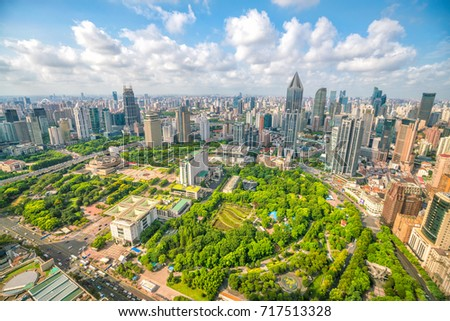 Shanghai People's square and park from top view in China #717513328