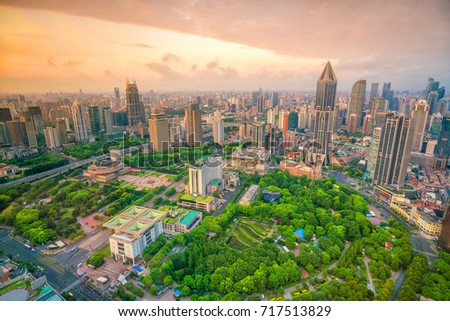 Shanghai People's square and park from top view in China #717513829