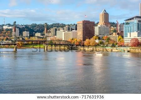 Portland city skyline at autumn, Oregon, USA.
