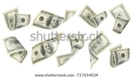 Flying money on white background