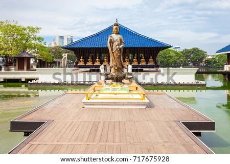Seema Malaka buddhist temple in the Beira Lake in Colombo, Sri Lanka. Seema Malaka is a part of the Gangaramaya Temple. #717675928