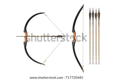 Ancient wooden bow isolated on white background. This has clipping path.     #717720685