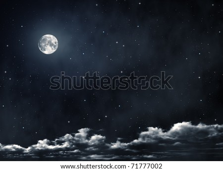 nightly sky with large moon #71777002